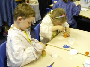 children making and doing with eggs