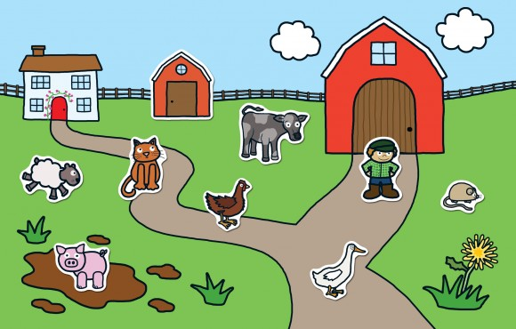 spread from priddy books preschool sticker activity farm