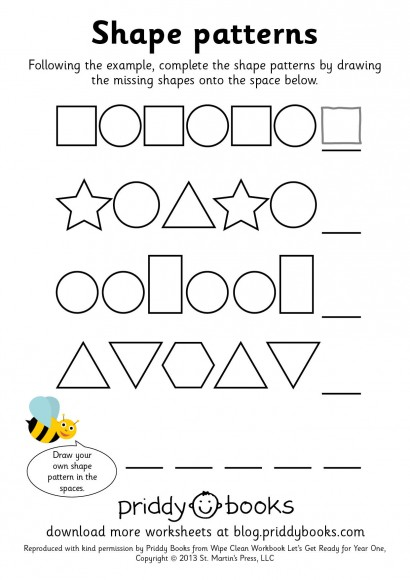 Worksheets Shape Pattern Worksheets download and print worksheets priddy books worksheet year one shape patterns