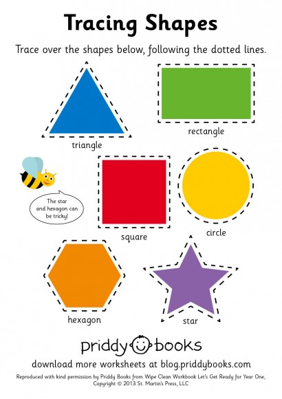 Priddy Books Worksheet - Year One - Tracing Shapes