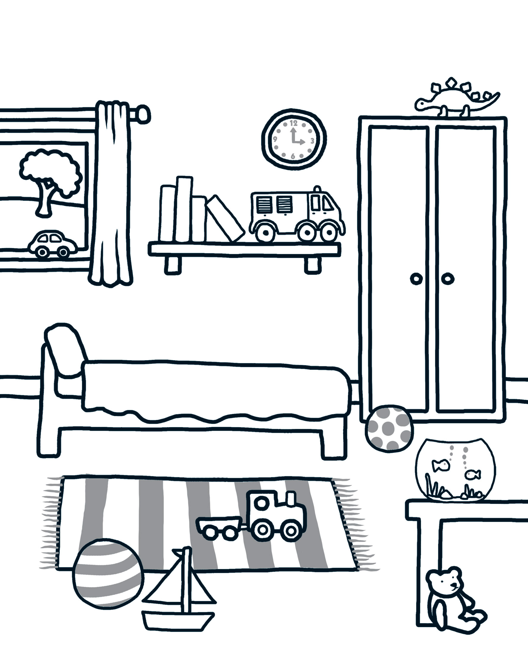 Bedroom Drawing: Download And Print: Colouring At Home
